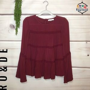 RO&DE Lace Tier Peasant Top in Burgundy Size S